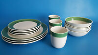 Gibson Elite Green Rimmed Dinnerware (14) Pieces Plates, Bowls & Cups