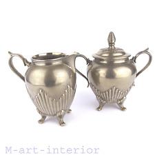 EDOUARD HUECK étain Sucrier & une théière Sugar Bowl Creamer Art Nouveau pour 1900