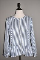 DENIM & CO. NEW $58 Yarn Dyed Striped Peplum Jacket in Seaport Blue Medium
