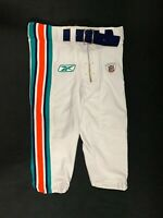 MIAMI DOLPHINS GAME USED WHITE REEBOK FOOTBALL PANTS SZ 32 SHORT YR-2011