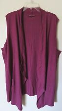 NEW Women's 4X Sleeveless Draped Front Burgundy Cardigan Sweater Wrap Bust 66
