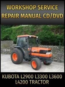 Kubota L2900 L3300 L3600 L4200 Tractor Service Repair Manual on CD