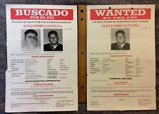 2-FBI LARGE WANTED POSTERs SPANISH & ENGLISH FOR MURDER ALEJANDRO SANTANA #7640