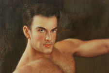"""Fine art nude male original oil painting on canvas sitting handsome men 24""""x36"""""""