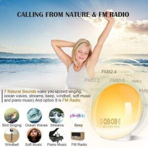 Wake Up Light, Sunrise Simulation & Sleep Aid Dual Alarm Clock with FM Radio NEW