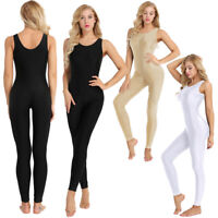 Women Adult Spandex Sleeveless Tank Leotard Unitard Footless Yoga Dance Bodysuit