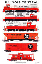 "Illinois Central Orange & White 11""x17"" Railroad Poster by Andy Fletcher signed"
