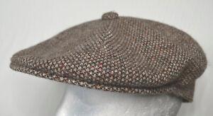 Kangol Vintage Wool Brown Heathermix Tweed Newsboy Cap Sz Medium Made In England