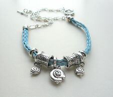 Pale Blue Braided Silver Tube Bead Shell Charm Collar Necklace   KCJ2320