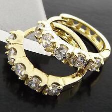 FSAN970 GENUINE 18K YELLOW G/F GOLD SOLID DIAMOND SIMULATED HUGGIE HOOP EARRINGS