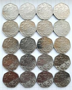 ❤ 20 Old Style 1994 British Fifty Pence (50p) Coins D Day Landings (£10 Worth)👌