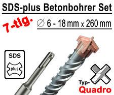SDS-plus Betonbohrer Set 7-tlg Quadro Bohrer Hammerbohrer 6mm - 18mm x 260mm