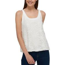 Tommy Hilfiger Womens Mesh Embroidered Sleeveless Tank Top Blouse BHFO 4472