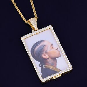 Custom Photo Pendant Square  Necklace Picture Chain Medallion Gift Jewelry Bling