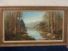 "Signed Victor Blok Forest and Lake Oil Painting  56""x23"" fine art Good condition"