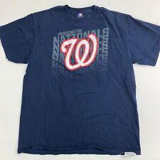 MLB Washington T Shirt Mens L/G/G Blue Knit Crew Neck Short Sleeve Casual Cotton