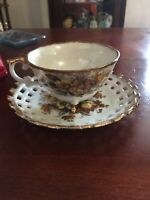 Vintage Trimont Ware Footed Teacup and Saucer Golden Yellow Floral