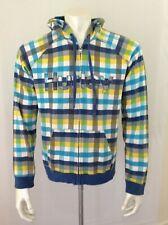 Hurley Blue Yellow Plaid Hoodie Long Sleeve Boys Full Zip Hooded Jacket Size XL