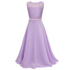 Girls Flower Lace Dress Bridesmaid Party Princess Prom Wedding Christening