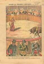 Caricature Politique Franc-maçonnerie Arène Taureau France 1910 ILLUSTRATION