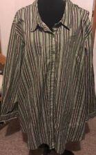 """4x 5x Plus 70"""" Bust 34"""" Length Roamans Shirt Top Blouse Stripes"""