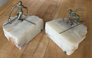 Amazing Vintage C. Jere Signed Bronze & Onyx Tennis Player Book Ends 1970's.