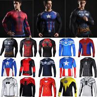 Men's Superhero Marvel Cycling T-Shirt Gym Sports Fit Long Sleeve 3D Jersey Top
