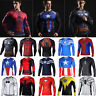Mens Compression T-Shirt Gym Sports Cycling Slim Fit Long Sleeve 3D Jersey Tops