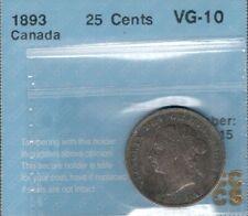1893 Twenty-Five Cents CCCS VG-10 ** RARE Date KEY Queen Victoria Canada Quarter