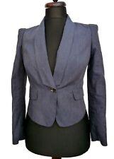 GHARANI STROK Designer Linen Mix Pinstripe Navy Blue Blazer 12 14