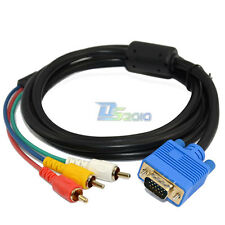 1.5M Vga 15 pin Male Plug to 3 Rca Audio Av Cable Adapter for Hdtv Pc Dvd Laptop