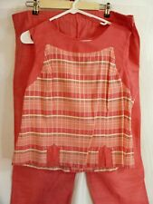 Womens Jamie Brooke Petite Sleeveless Pink Plaid Tank Pant Suit Sz 16P RN 37080