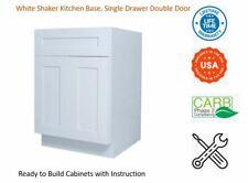 White Shaker Kitchen Base Cabinet, Single Drawer & Double Door