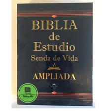"""Biblia de Estudio Senda de Vida Ampliada Piel Negro Index """"SU NOMBRE GRABADO"""""""