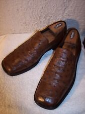 Mezlan Platinum Tuscany Ostrich 10.5M  Brown Loafers Dress Shoes