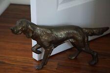 Vintage Solid Cast Cold Brass Hound or Retriever Dog Figurine Door Stop