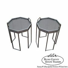 Quality Pair of Chrome & Glass Octagon Side Tables