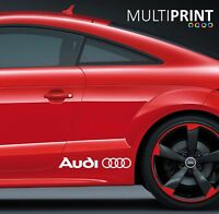 2 x AUDI LOGO RINGS CAR VINYL STICKERS / DECALS SIDE SKIRT GRAPHICS CAR1