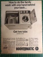 HOOVER Hoovermatic Collectable Vintage Magazine Print Ad Advertisement