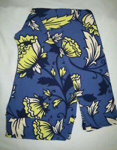 TC2 LuLaRoe Tall Curvy2 Leggings ~ Bold Blue Yellow Cream FLOWERS
