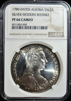 :1780-DATED AUSTRIA 1OZ SILVER TALER NGC PF-66-CAMEO LOW-POP HIGHEST-GRADES