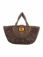 Cristian Dior Chocolate Brown Plisse Pleated Tote Handbag, 16 x 9 x 4.5 in, 5