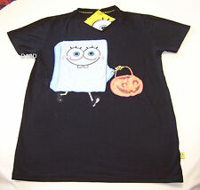 Nickelodeon SpongeBob Halloween Ghost Mens Black Printed T Shirt Size S New