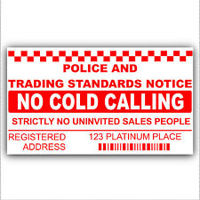 No Cold Calling/Salesman Callers Window Sticker-Your ADDRESS is printed-Sign