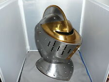 MEDIEVAL  HELMET    Medieval  Armor adult size  Steel with Brass