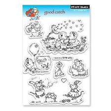 PENNY BLACK RUBBER STAMPS CLEAR GOOD CATCH MICE BEARS LOVE STAMP SET