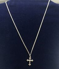 """VINTAGE STERLING SILVER 925 CROSS PENDANT NECKLACE -  20"""" CURB CHAIN, 2MM WIDE."""