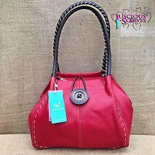 Ladies Red Faux Leather Big Button Fashion Shoulder Bag Handbag