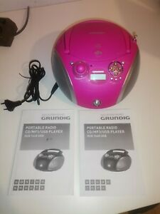 Grundig RCD 1445 Radio USB 2.0CD MP3 WMA Wiedergabe pink/silber Kinder Musik OVP