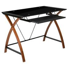 Black Glass Computer Desk With Pull Out Keyboard Tray And Crisscross Frame